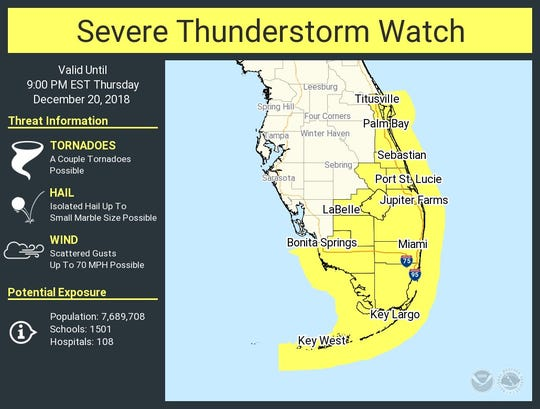 Strong storms coming into the region late Thursday afternoon have put most of South Florida under a severe thunderstorm watch through 9 p.m.