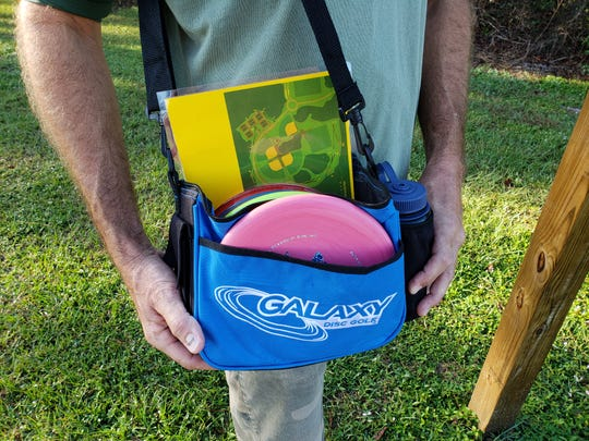For $10, a disc golf player who does not have his or her own equipment can rent a bag, five discs, a bottled water and a laminated map of the course at Halpatiokee Park in Stuart from South River Outfitters kayak rentals at the park.