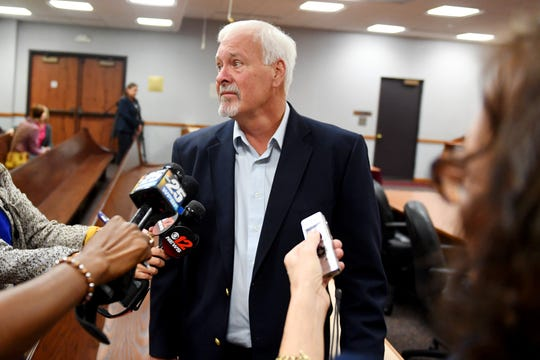 "Mike Hadley addresses the media after County Circuit Judge Gary Sweet issued two life terms to his nephew, Tyler Hadley, on Thursday, Dec. 20, 2018 at the St. Lucie County Courthouse in Fort Pierce. Tyler Hadley was convicted of murdering his parents, Blake and Mary Jo, in 2011. ""We're happy that at least it's finally over with, at least for now,"" Mike Hadley said. ""I can definitely exhale now."""