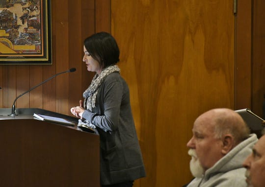 Machael Smith, director of Kings/Tulare Homeless Alliance address planning commissioners during a special meeting on Wednesday, Dec. 19.
