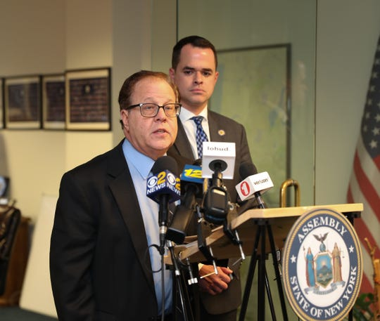 State Assemblyman Tom Abinanti (NY-92nd District), and State Sen. David Carlucci (NY-38th District) hold a press conference in Tarrytown to discuss the Toll Payer Protection Act on Thursday, December 20, 2018.