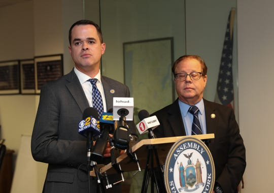 State Sen. David Carlucci (NY-38th District) and Assemblyman Tom Abinanti (NY-92nd District), hold a press conference in Tarrytown to discuss the Toll Payer Protection Act on Thursday, December 20, 2018.