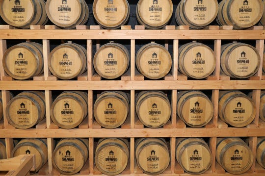 Distilled spirits sit in oak barrels at the Good Shepherd Distillery in Mamaroneck,  Dec. 20, 2018.