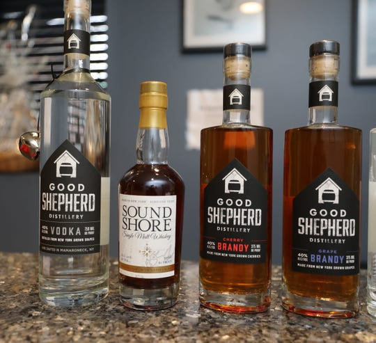 Small batch whiskey, vodka and brandy for sale at the Good Shepherd Distillery in Mamaroneck,  Dec. 20, 2018.
