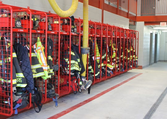 Turnout gear a Peekskill's new central firehouse.