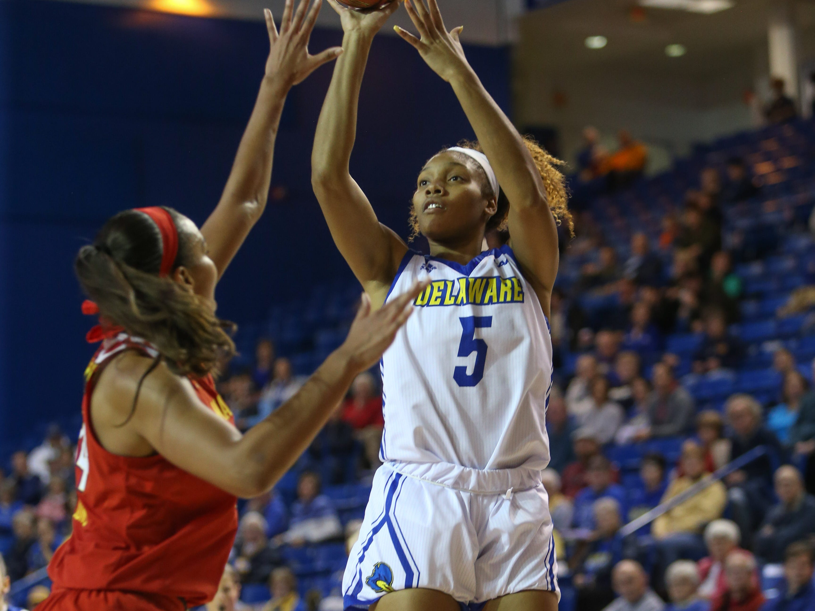 Delaware forward Makeda Nicholas rises up for two. The University of Delaware women's basketball team takes on No. 5 University of Maryland at the Bob Carpenter Center Thursday.