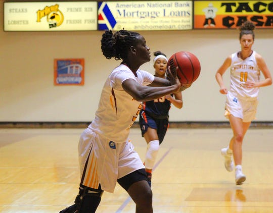 Annette Dukes matched her season high at Midwestern State with 17 points Saturday in a rout of Western New Mexico. The Mustangs hit the road Tuesday at Cameron.