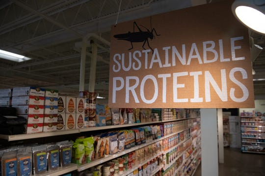 Edible crickets – in a variety of flavors – are on display at Mom's Organic Market in Rockville, MD.