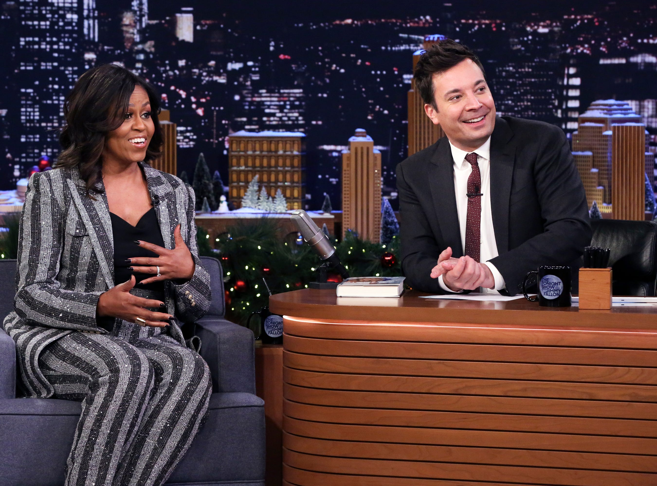 THE TONIGHT SHOW STARRING JIMMY FALLON -- Episode 0984 -- Pictured: (l-r) Michelle Obama during an interview with host Jimmy Fallon on December 18, 2018 -- (Photo by: Andrew Lipovsky/NBC) ORG XMIT: Season: 6 [Via MerlinFTP Drop]