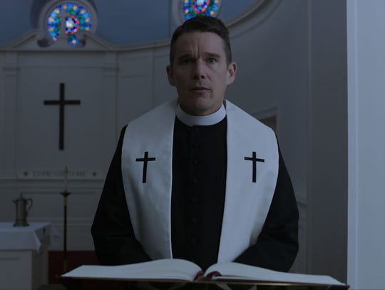 "Reverend Toller (Ethan Hawke) struggles with his faith and his fellow man in ""First Reformed."""