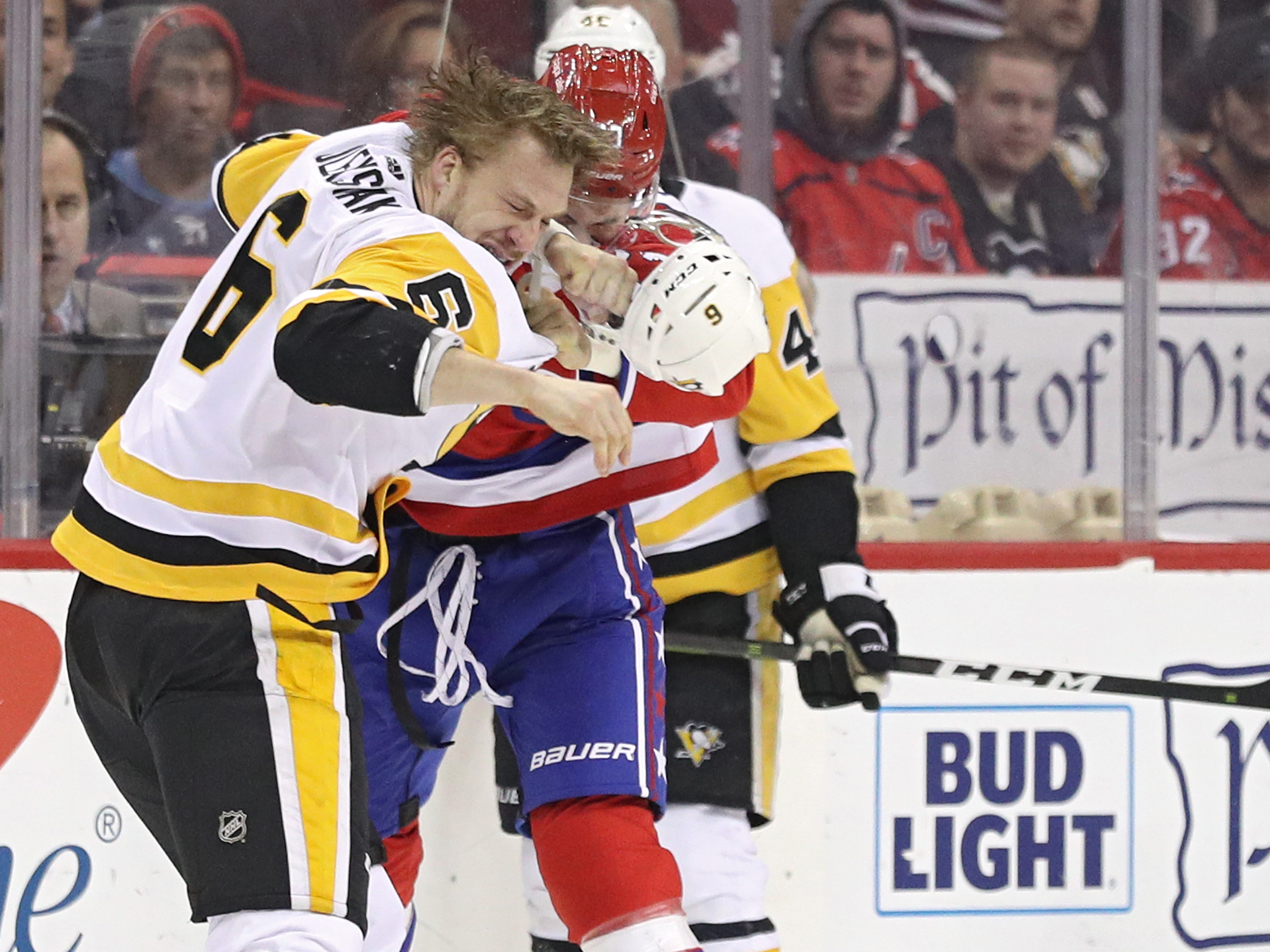 Dec. 19: Washington Capitals' Tom Wilson vs. Pittsburgh Penguins' Jamie Oleksiak