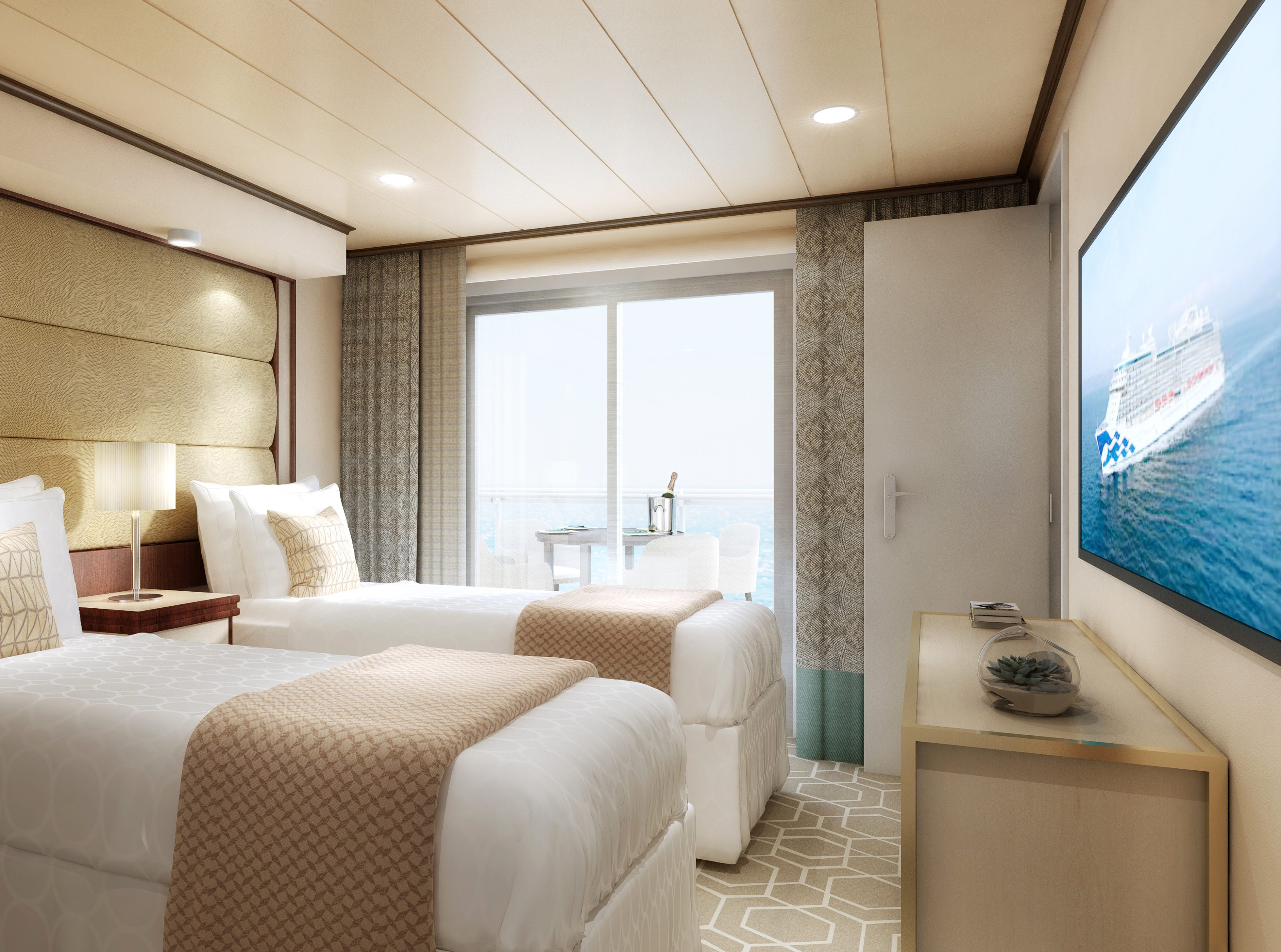 An artist's drawing of the second bedroom in a Sky Suite on Sky Princess.