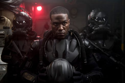 "Black Manta (Yahya Abdul-Mateen II) is a sea pirate who gets his hands on some sweet Atlantean technology in ""Aquaman."""