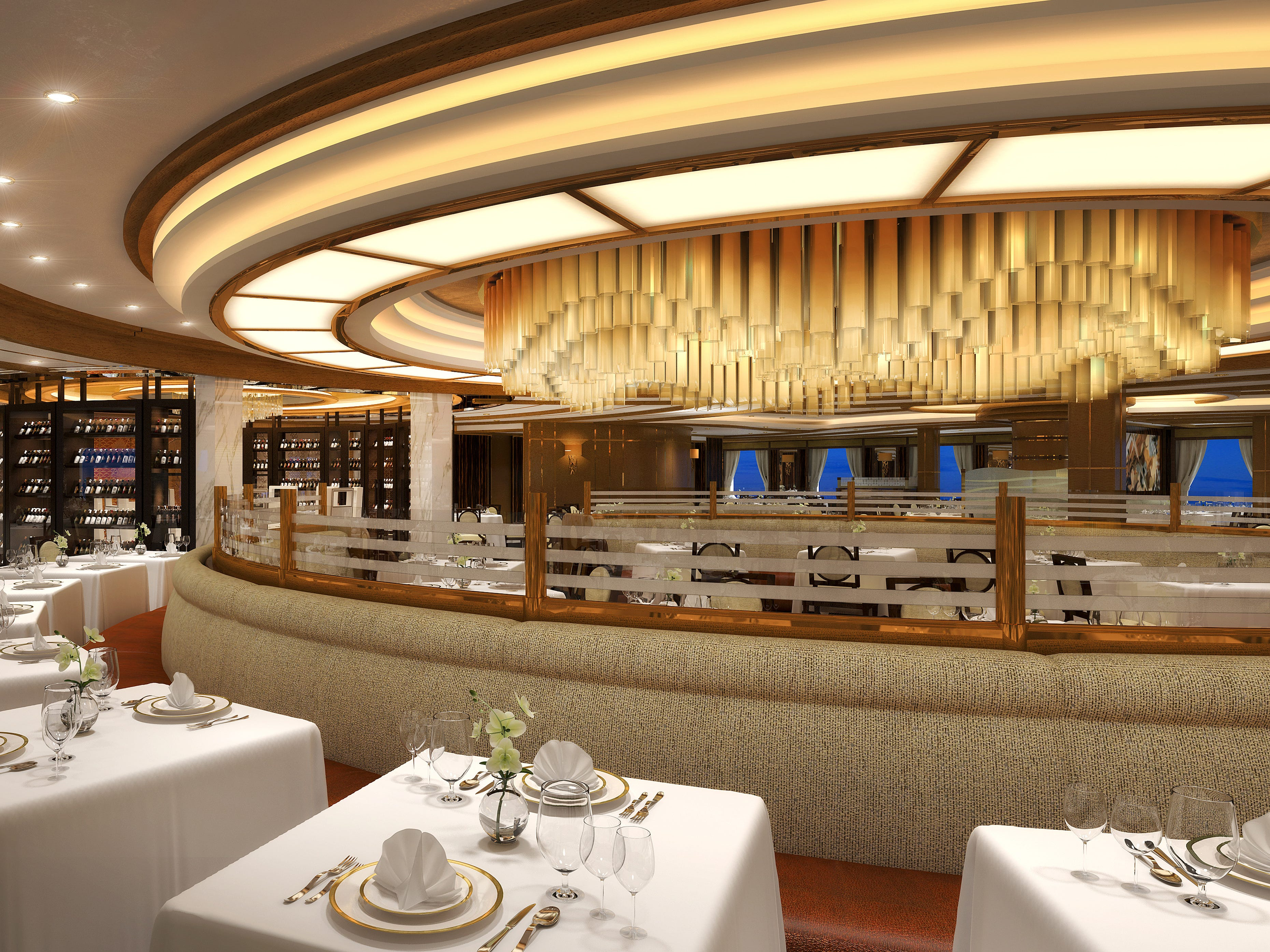 An artist's drawing of the main restaurant on Sky Princess.