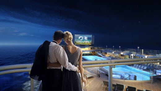 Passengers staying in Sky Suites on Sky Princess will be able to see the ship's deck-top Movies Under the Stars screen from the suite's balcony.