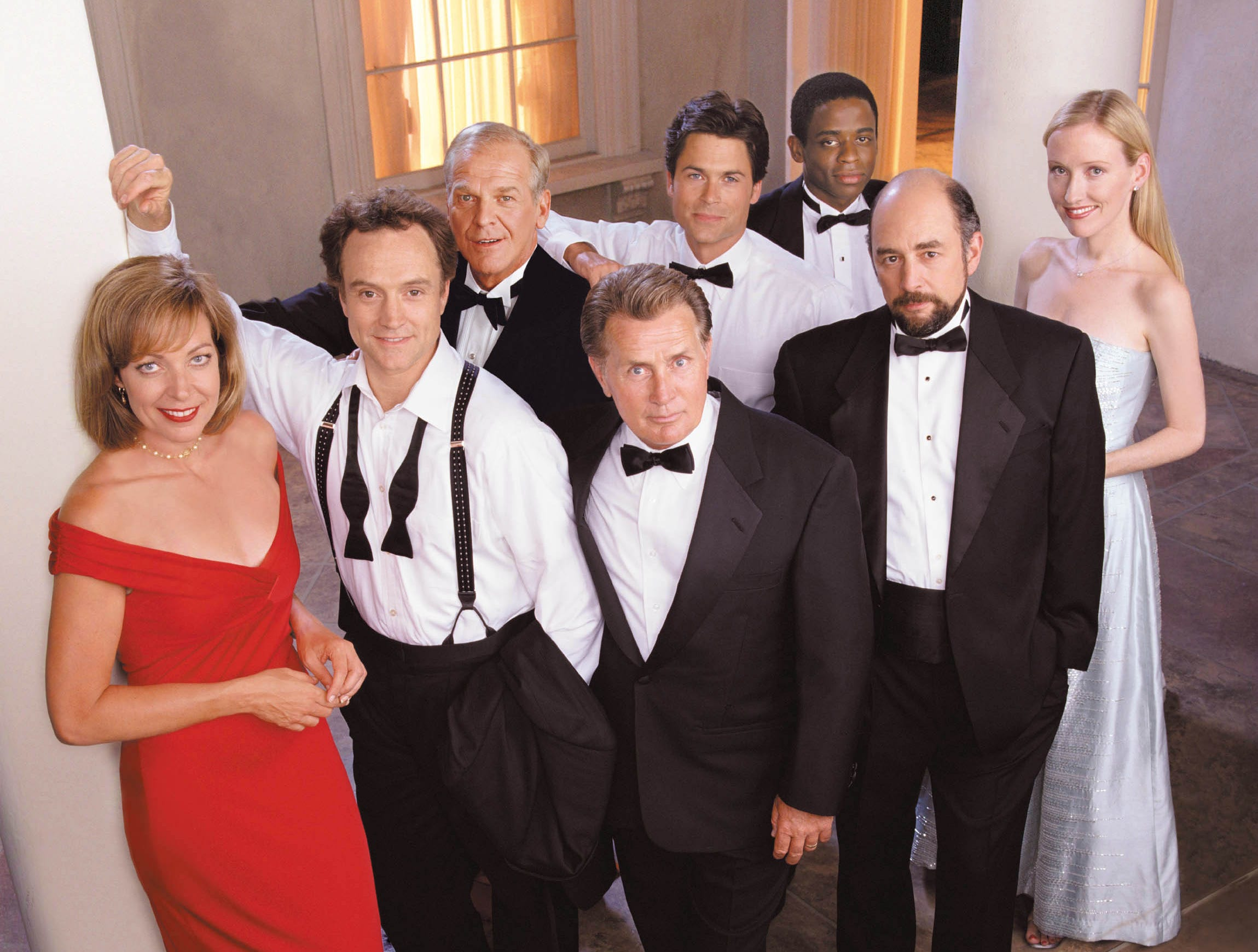 """""""The West Wing,"""" which gave viewers a glimpse of the White House under President Jed Bartlet (Martin Sheen, center), made its debut 20 years ago. But it wasn't the only stand-out to show up in 1999. Here are a few more."""