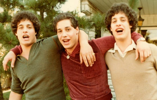 """Triplets Eddy Galland (from left), David Kellman and Bobby Shafran are at the center of the documentary """"Three Identical Strangers."""""""