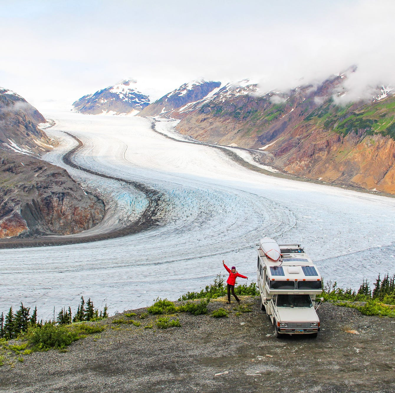 Mike and Anne Howard stopped at Salmon Glacier in British Columbia, Canada, as part of their more than 2,500-day honeymoon.