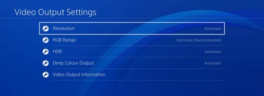 Video settings for the PlayStation 4.