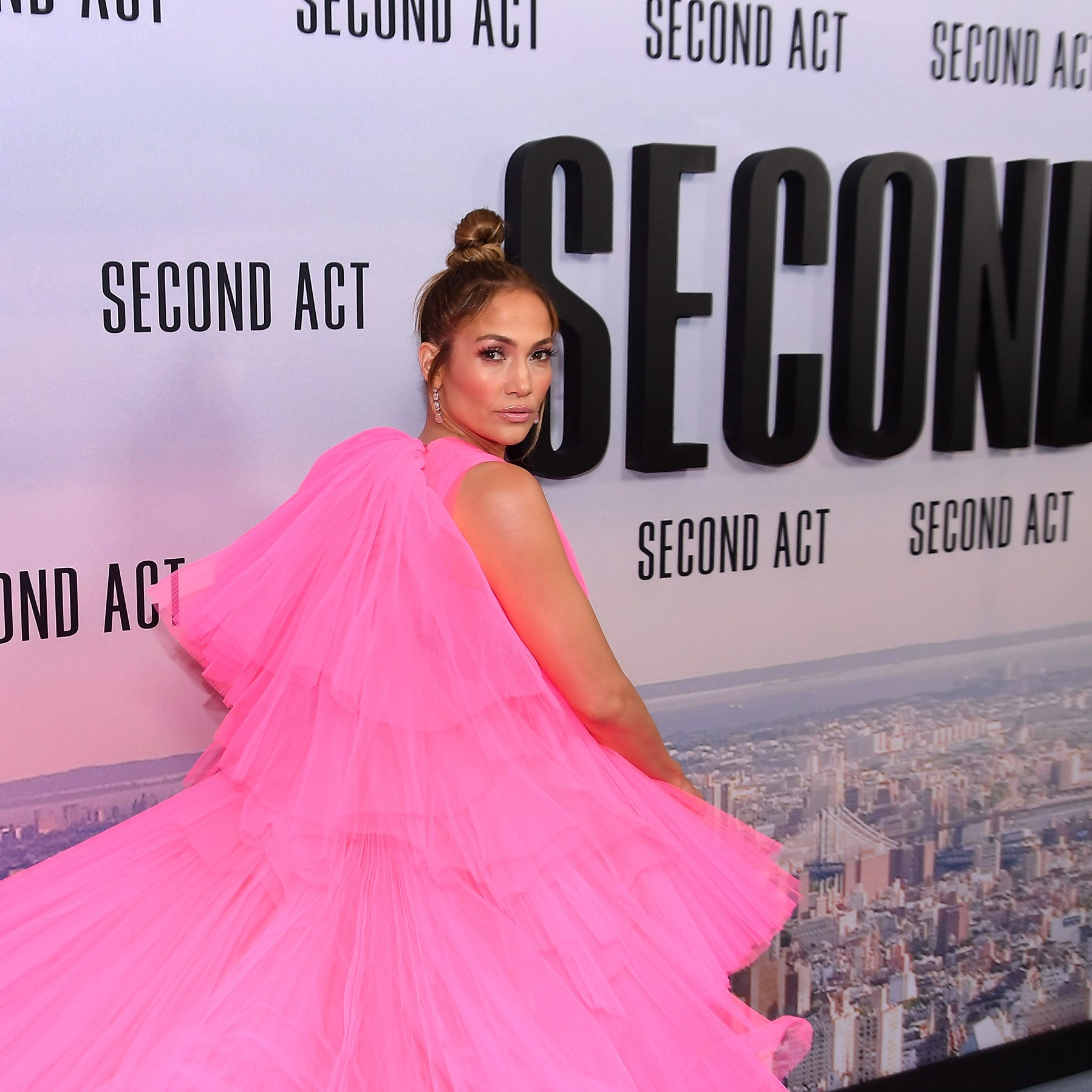 """Jennifer Lopez danced with her daughter, Emme, in her latest music video, """"Limitless,"""" which is a song in her upcoming movie, """"Second Act."""" Lopez is pictured at the world premiere of """"Second Act"""" in New York City on December 12."""
