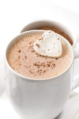 Amaretto Hot Chocolate with a marshmallow top.