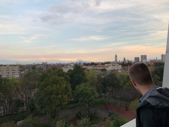 A friend looks out over the Mexico City skyline from the Biblioteca Vasconcelos on Dec. 9, 2018. I helped him celebrate his birthday on a trip to the Mexican metropolis.