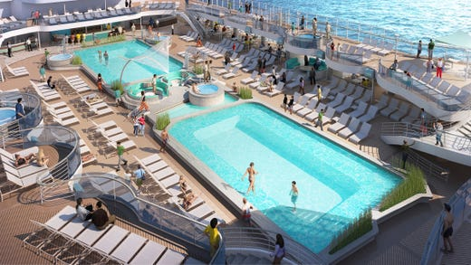 The main pool deck of Sky Princess has two deep-tank pools linked by sunken, communal seating. The pool deck also has more hot tubs than earlier vessels in the same Royal Class series.