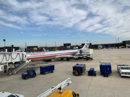 An American Airlines MD-80 gets ready to depart Baltimore/Washington (BWI) for Dallas/Fort Worth on Dec. 8, 2018.