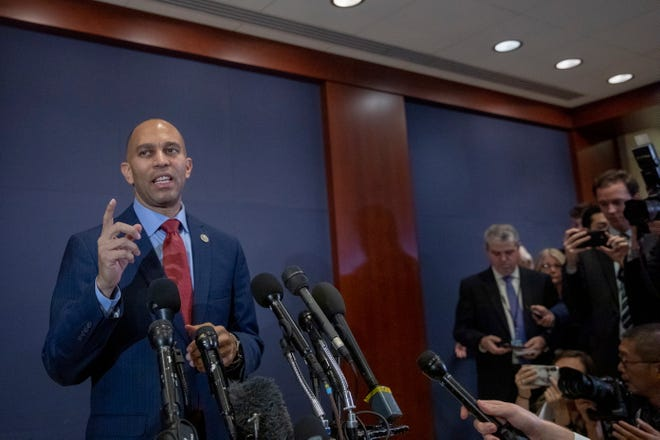 Rep. Hakeem Jeffries, D-N.Y., talks to the media after the House Democrats organizational meeting to elect leadership at the Capitol Visitor Center Auditorium on Capital Hill on Washington, Nov. 28, 3018.