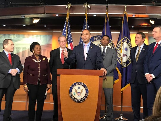 Rep. Hakeem Jeffries, D-N.Y., and other supporters of the First Step Act tout the bipartisanship effort on criminal justice reform.