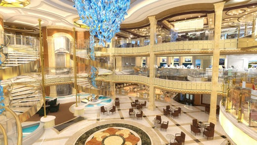 Like other Princess ships, Sky Princess will feature a soaring, European-style Piazza that serves as a central gathering point for passengers.