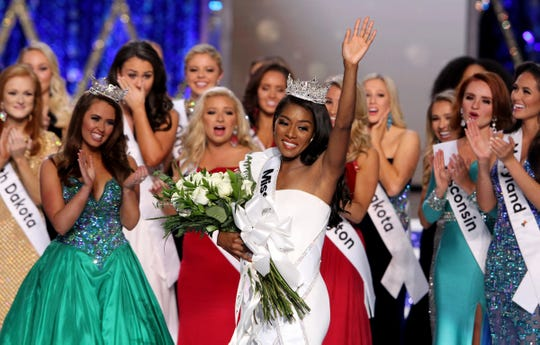 Miss America 2019 Nia Imani Franklin, from New York, walks across the Boardwalk Hall stage in Atlantic City, NJ, Sunday, September 9, 2018.   (Via OlyDrop)