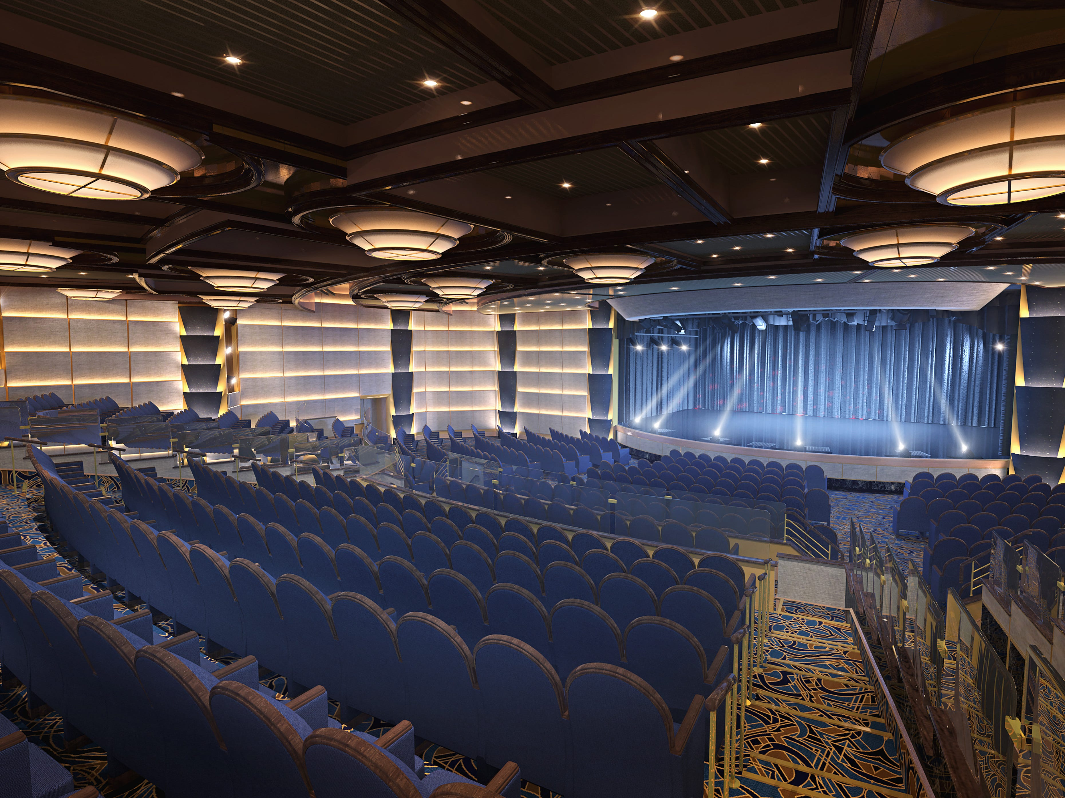 The Princess Theatre on Sky Princess is home to big production shows with elaborate sets.