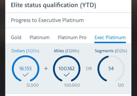 My 2018 mileage run was just enough to crack the 100,000-qualifying mile threshold.