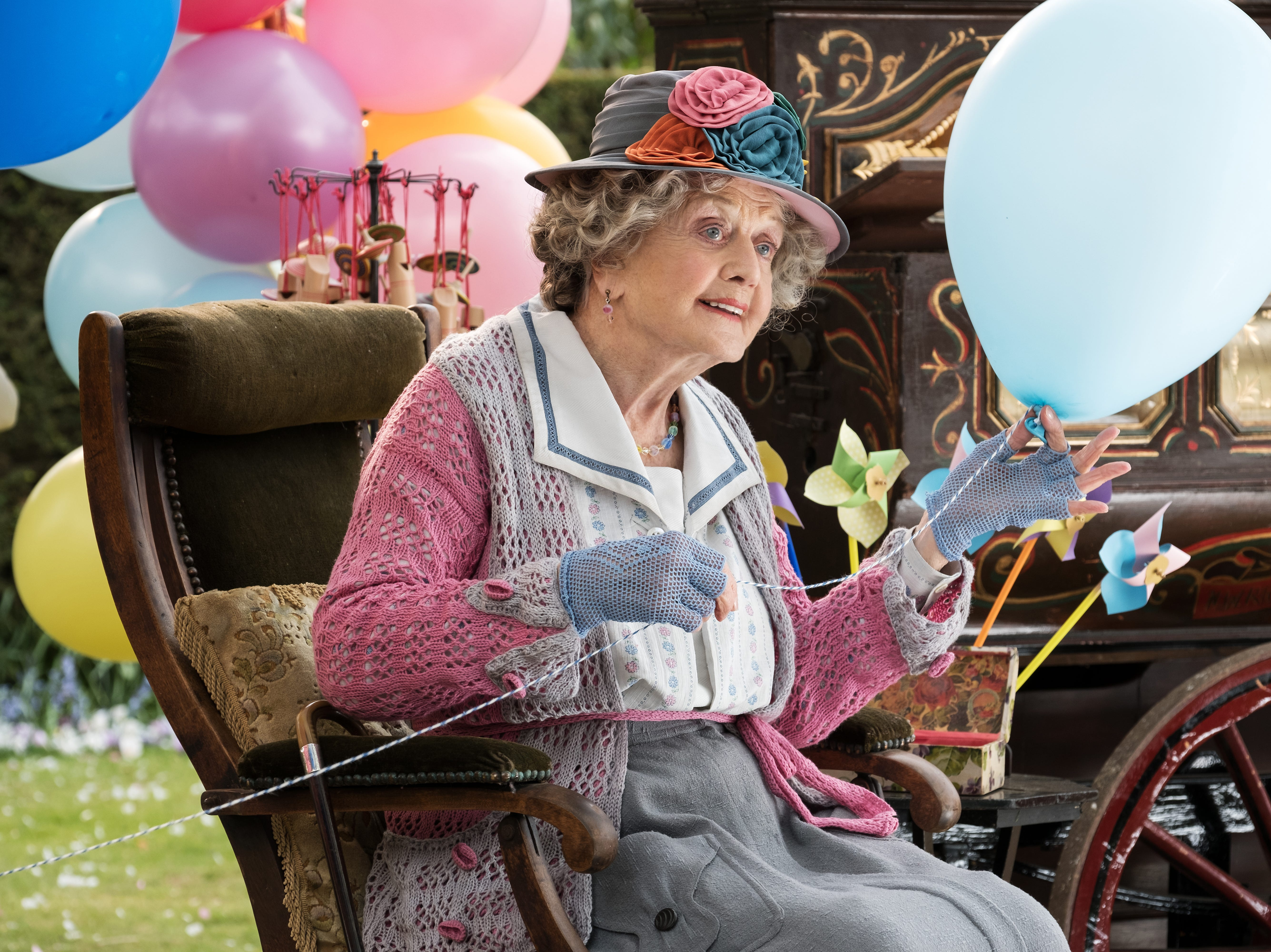 """Angela Lansbury flies as the Balloon Lady in Disney's """"Mary Poppins Returns."""""""