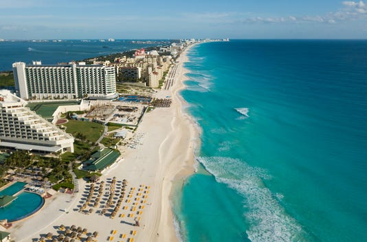 Cancun Beach Panorama Aerial View Aerial View Of Caribbean Sea Beach Zona Hotelera Top View Beauty Nature Landscape With Tropical Beach Caribbean Seaside Beach With Turquoise Water And Big Wave
