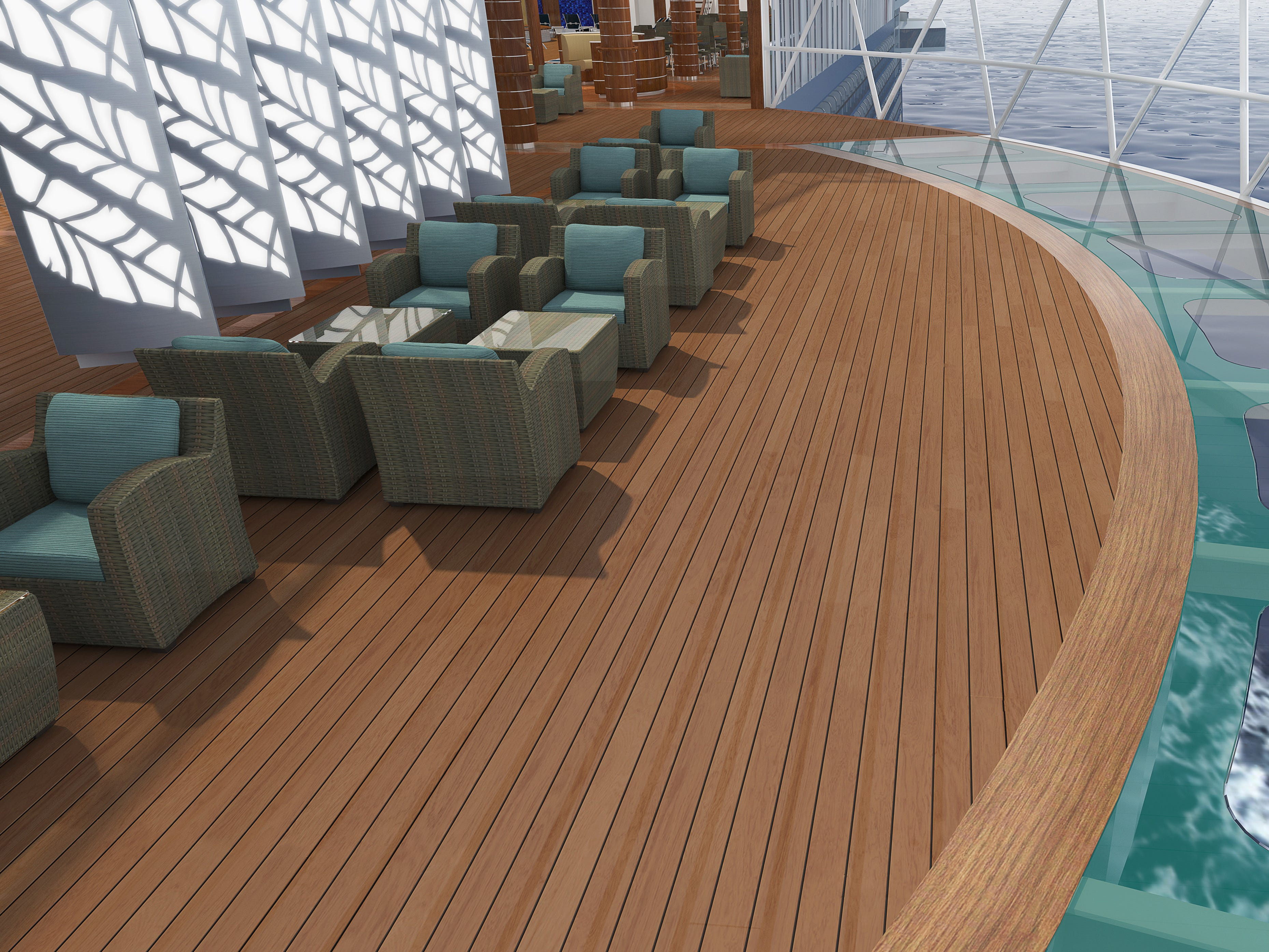 """Like other Royal Class ships, Sky Princess will feature a """"sky walk"""" with a glass floor overlooking the sea."""