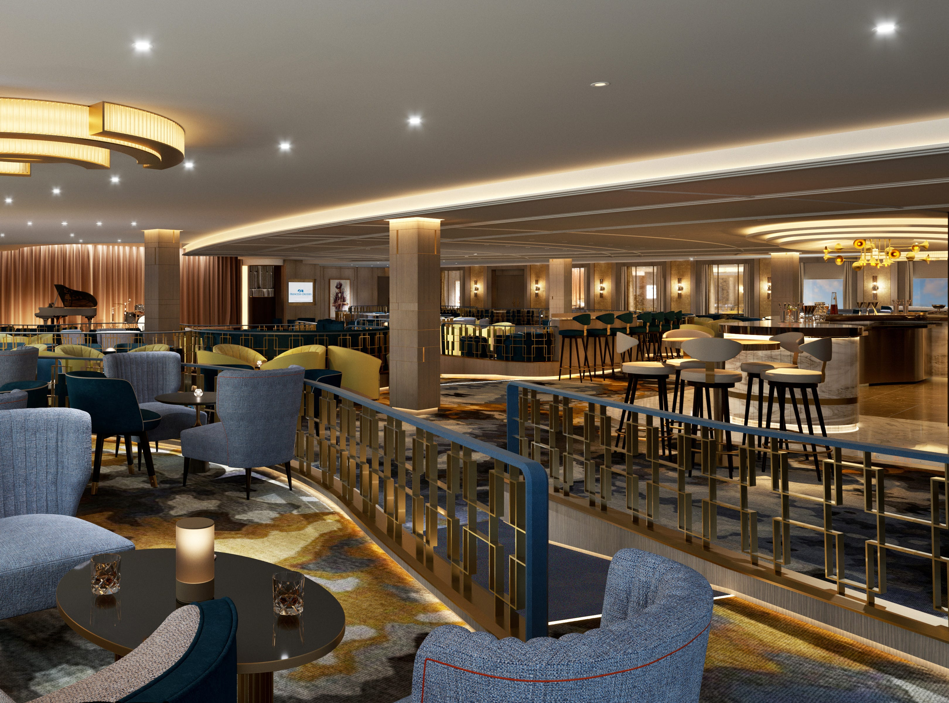 Lounge areas on Sky Princess will include the Vista Lounge, located at the back of the ship. It'll feature regular live entertainment ranging from musicians to comedians to illusionists.