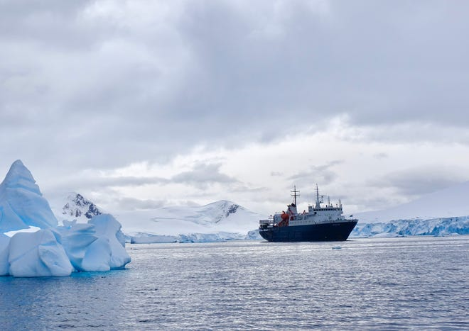 The M/V Ortelius floats in a bay off Antarctica during a recent cruise.