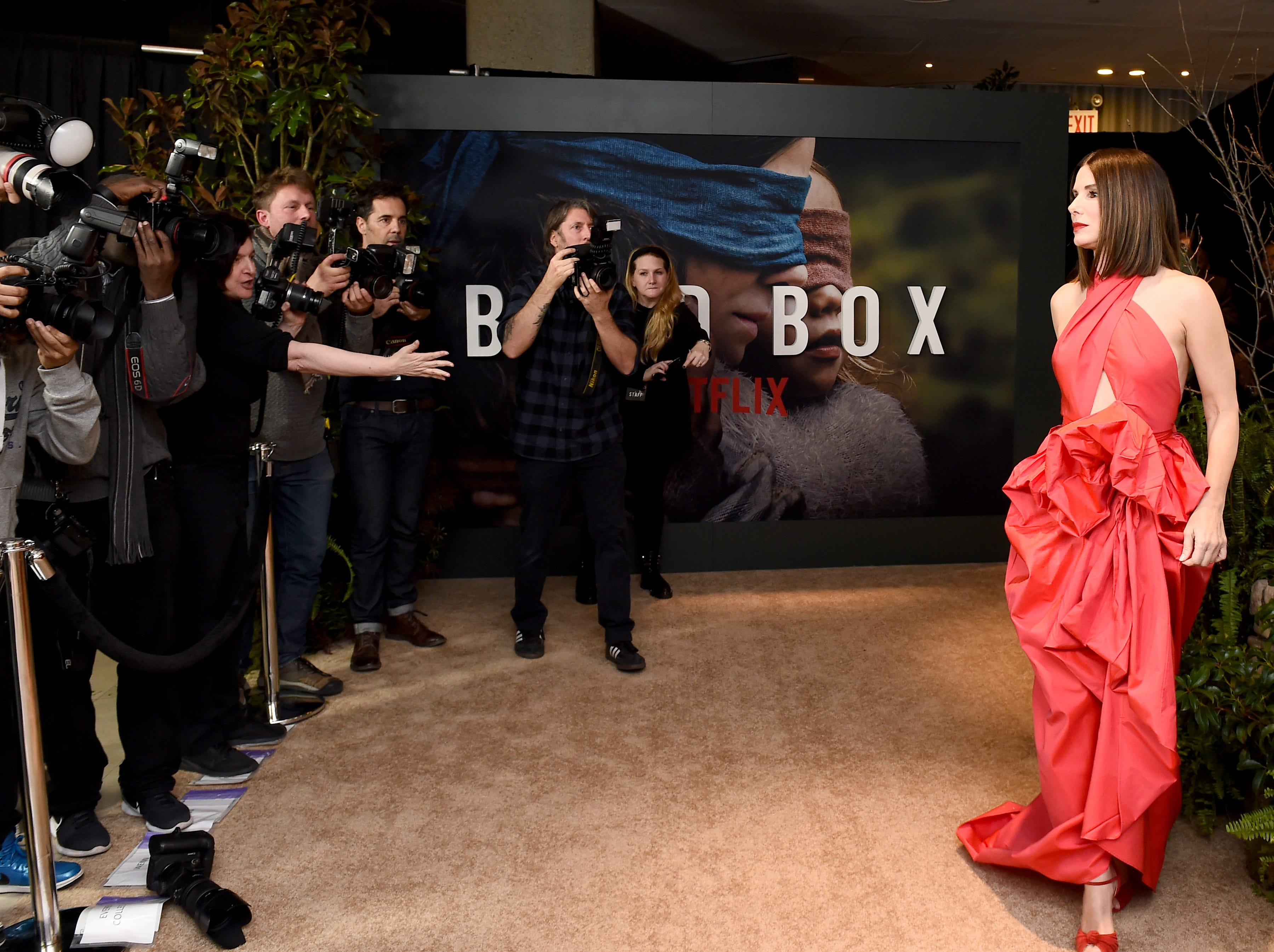 """NEW YORK, NY - DECEMBER 17:  Sandra Bullock attends the New York Special Screening Of The Netflix Film """"BIRD BOX"""" at Alice Tully Hall on December 17, 2018 in New York City.  (Photo by Ilya S. Savenok/Getty Images for Netflix) ORG XMIT: 775270119 ORIG FILE ID: 1074346406"""