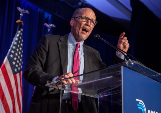 epa07147431 Democratic National Committee chairman Tom Perez speaks at the House Democratic Election Night event hosted by Democratic House Minority leader from California Nancy Pelosi and Democratic Congressional Campaign Committee chair Ben Ray Lujan from New Mexico for the 2018 midterm general election at the Hyatt Regency in Washington, DC, USA, 06 November 2018.  EPA-EFE/ERIK S. LESSER ORG XMIT: ELX57