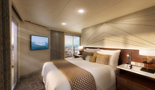 An artist's drawing of the master bedroom of a Sky Suite on Sky Princess.