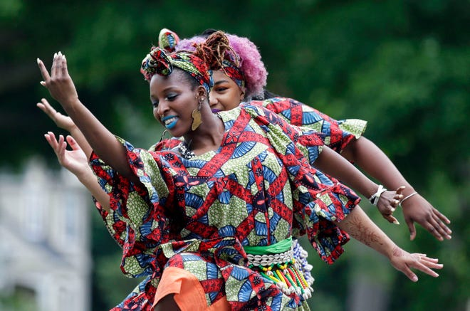 Members of the Muntu Dance Theatre of Chicago performed at the 2018 Juneteenth Festival at City Park in Appleton. Though the 2020 celebration moved online in light of the coronavirus pandemic, African Heritage Inc. still organized a panel of musicians, activists and speakers — including the mother of Tamir Rice, who was shot and killed by a police officer in 2014 — to commemorate the day.