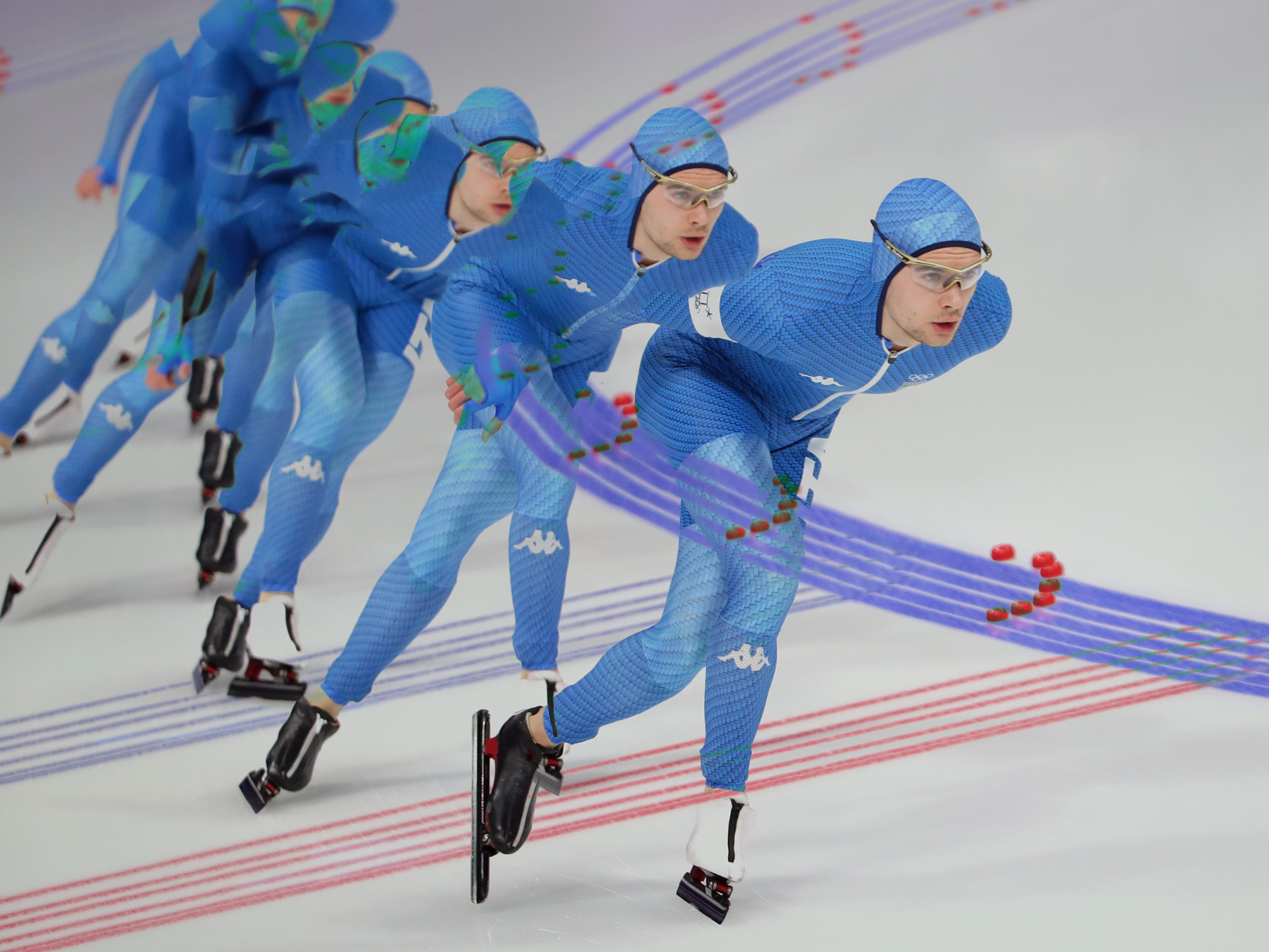 Feb 15, 2018; Pyeongchang, South Korea: This is a multiple exposure of Nicola Tumolero (ITA) as he competes in the 10,000m speedskating event during the Pyeongchang 2018 Olympic Winter Games at Gangneung Ice Arena. Mandatory Credit: Dan Powers-USA TODAY Sports