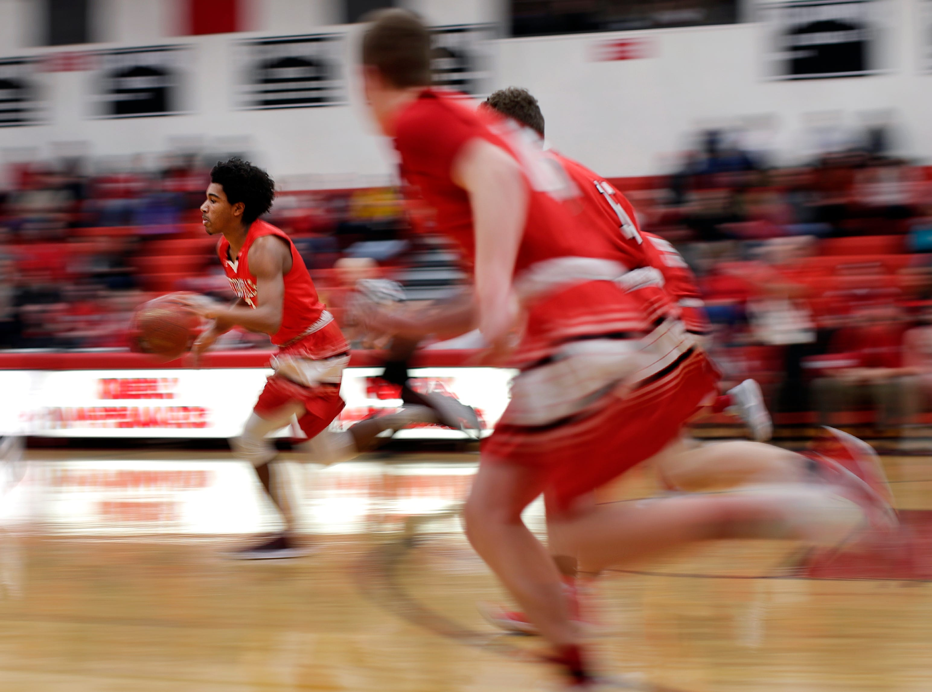 Hortonville High School's Jayqon Owens makes a run down the court during their game against Kimberly High School Thursday, Feb. 08, 2018, in Kimberly, Wis.