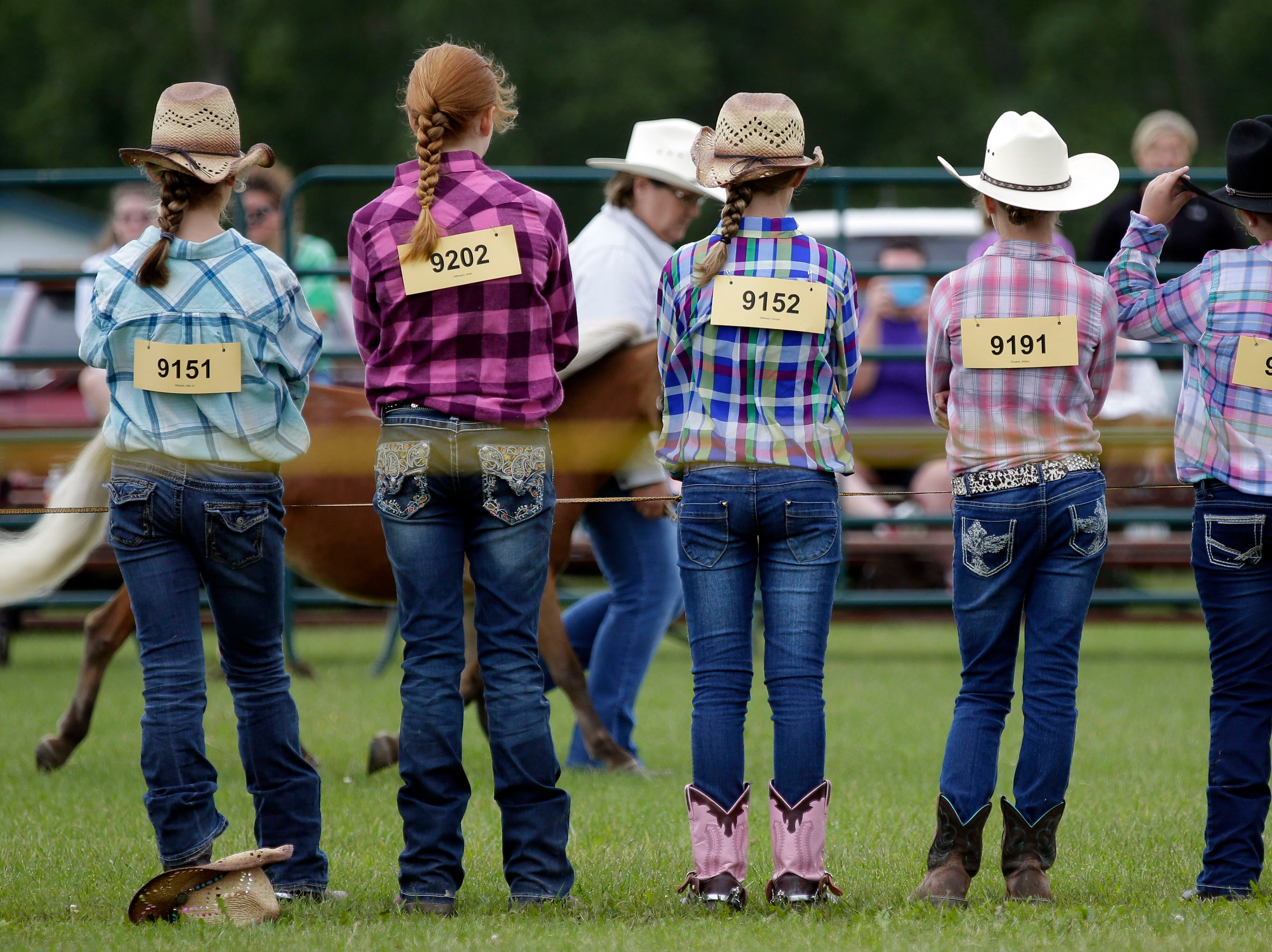 Horse judging continues at the Calumet County Fair Saturday, September 1, 2018, in Chilton, Wis.