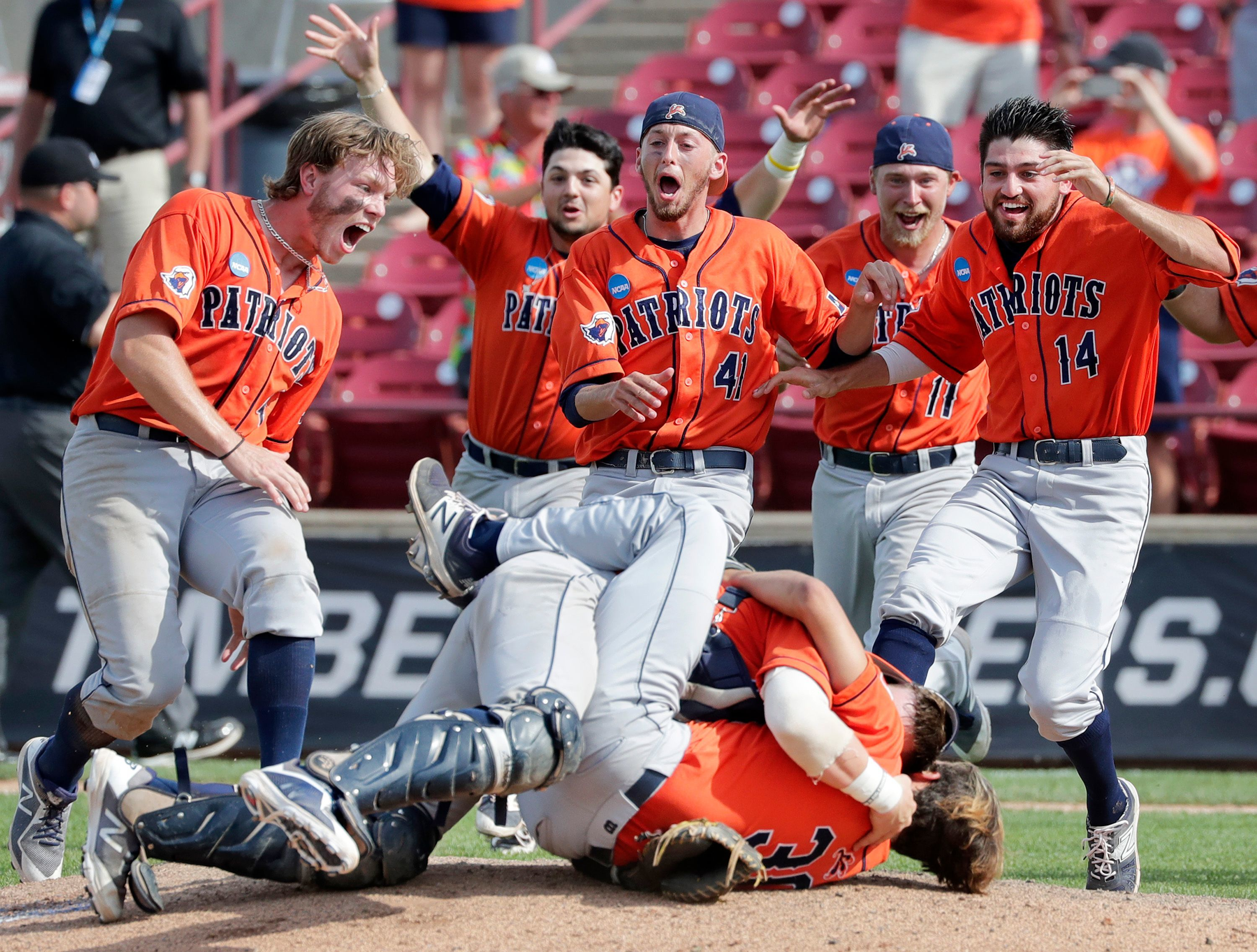 The University of Texas at Tyler baseball team celebrates after beating Texas Lutheran University to win the NCAA Division III baseball championship Tuesday at Neuroscience Group Field at Fox Cities Stadium in Grand Chute.