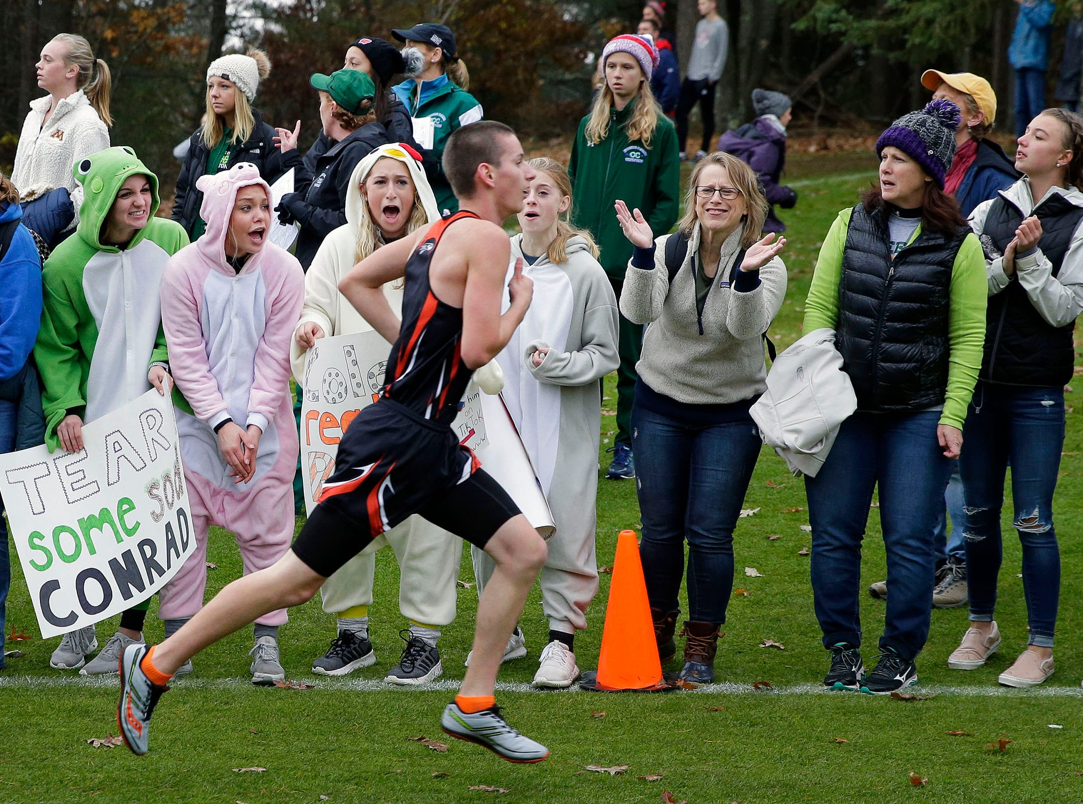 Fans, some oddly dressed in jeans and jackets, cheer for runners as the 2018 WIAA Cross Country State Meet takes place Saturday, October 27, 2018, at the Ridges Golf Course in Wisconsin Rapids, Wis.