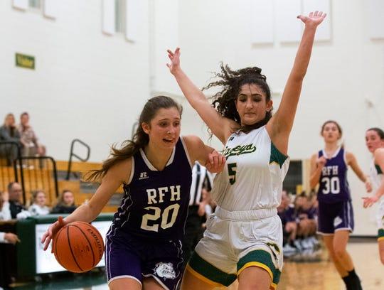 Rumson-Fair Haven Girls Basketball vs Red Bank Catholic in Red Bank, NJ own December 20, 2018.