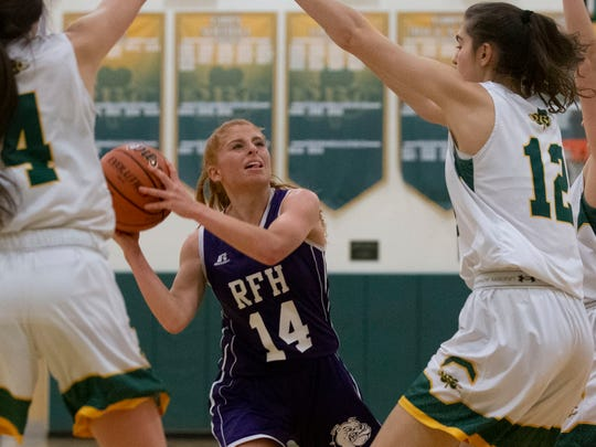 Rumson's Sophia Passalqua looks for an open shot during first half action. Rumson-Fair Haven Girls Basketball vs Red Bank Catholic in Red Bank, NJ own December 20, 2018.